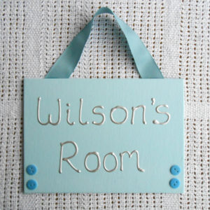 Bedroom Door Sign - baby blue