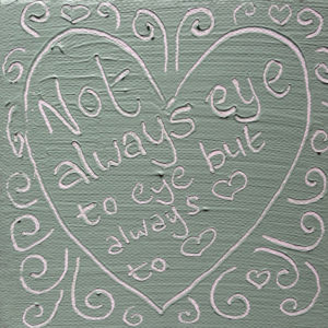Heart to heart Wise Words canvas - vintage green