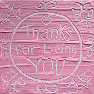 Thanks for You Wise Words canvas - pastel pink