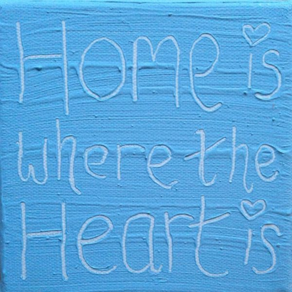Heart Home Wise Words canvas - pastel blue
