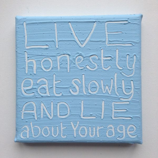 Live Honestly Wise Words canvas - pastel blue