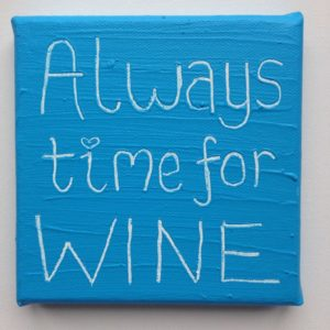 Wine Time Wise Words canvas - sky blue
