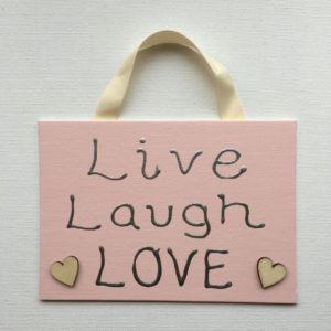 Live Laugh Love Canvas Sign - Pastel Pink