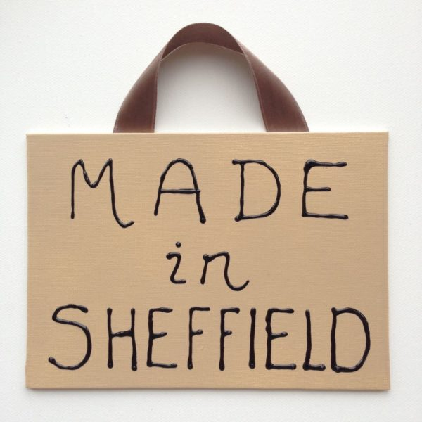 Made Sheffield Canvas Sign - Cappuccino Cream/black