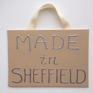 Made Sheffield Canvas Sign - Cappuccino Cream/silver